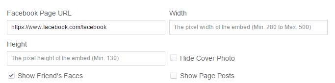 Campos necesarios para obtener caja de Facebook